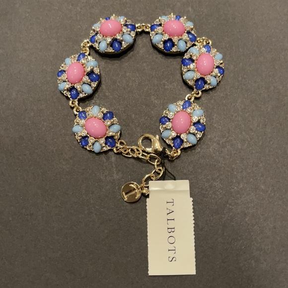 NWT Talbots Pink & Blue Rhinestone Bracelet